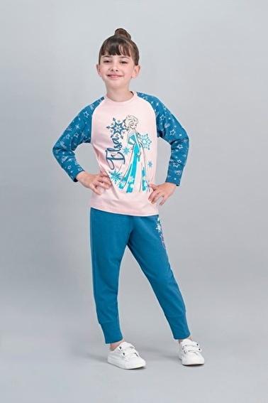 Frozen Karlar Ülkesi - Frozen Lisanslı Karmelanj Kız Çocuk Pijama Takımı Pembe